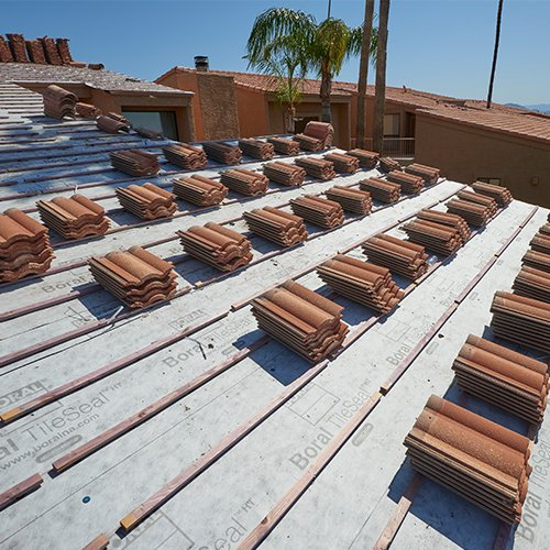 Tile Roof in process